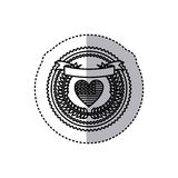 monochrome silhouette sticker with united states flag in shape of heart and olive crown and ribbon on top in round frame Stock Photos