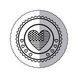 monochrome silhouette sticker with united states flag in shape of heart in round frame with hearts Stock Photo