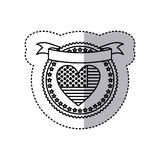 monochrome silhouette sticker with united states flag in shape of heart in round frame with hearts and ribbon on top Royalty Free Stock Image