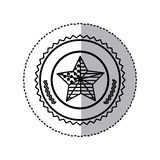 monochrome silhouette sticker with united states flag in shape star in round frame Stock Photo