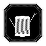 Monochrome silhouette with thread spool and sewing needle in frame Royalty Free Stock Photo