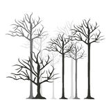 Monochrome silhouette with trees without leafs Royalty Free Stock Image