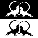 Monochrome silhouette of two doves and a heart Stock Photography