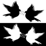 Monochrome silhouette of two flying doves with a letter. Vector-art illustration vector illustration