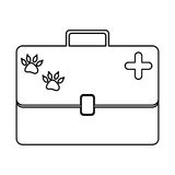 Monochrome silhouette with vet first aid suitcase. Vector illustration Royalty Free Stock Image