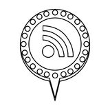 monochrome silhouette of wifi icon and circular speech with contour dotted and tail Stock Image