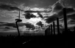 Monochrome of Silhouetted Communication Tower at Barcelona stock photos