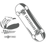 Monochrome skateboard. And hand drawn graffiti with it, vector illustration Stock Photo