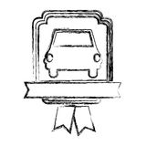 Monochrome sketch of automobile front in heraldic frame with ribbon Royalty Free Stock Photography