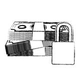 Monochrome sketch of bills and coins with padlock protection of close up Stock Images