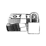 Monochrome sketch of bills and coins with padlock protection Stock Photo