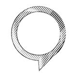 monochrome sketch of circular speech with tail to right side and contour of stripes Stock Image