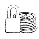 Monochrome sketch of coins stacked and padlock Stock Photos