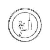 monochrome sketch of man kicking a punching bag in circular frame Stock Photo