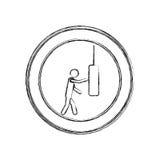 monochrome sketch of man knocking punching bag in circular frame Stock Photos