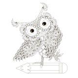 Monochrome sketch of an owl on pencil, school stock Royalty Free Stock Photos