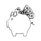 Monochrome sketch of piggy bank with credit card and bills and coins Royalty Free Stock Image