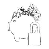 Monochrome sketch of piggy bank with credit card and bills and coins protected Stock Photo