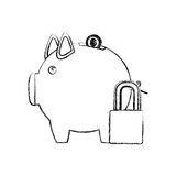 Monochrome sketch of piggy bank with padlock Royalty Free Stock Photos