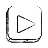 Monochrome sketch of square button with play button Stock Photo