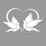 A monochrome sketch of two flying doves and a heart Stock Photos