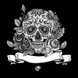 Monochrome Skull, diamond and Flowers Card Royalty Free Stock Image