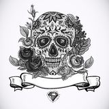 Monochrome Skull, diamond and Flowers Card Royalty Free Stock Images