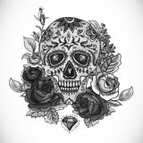 Monochrome Skull, diamond and Flowers Card Royalty Free Stock Photos
