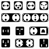 Monochrome sockets symbols on a white background vector illustration Stock Image
