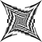 Monochrome Spirals of Concave  Rectangles Expanding from the Center. Optical Illusion of Volume and Depth. Vector Illustration. Monochrome Spirals of Concave Royalty Free Stock Images