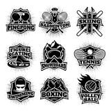 Monochrome Sport Logos Set Stock Image