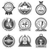 Monochrome Sport Reward Labels Set Royalty Free Stock Photo
