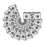 Monochrome spread of cash Royalty Free Stock Photo