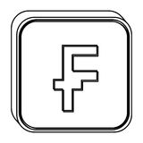 Monochrome square contour with currency symbol of frank french and belgian Stock Image