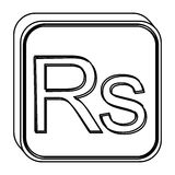 Monochrome square contour with currency symbol of india rupee Royalty Free Stock Photography