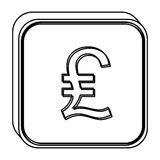 Monochrome square contour with currency symbol of lira italy Royalty Free Stock Images