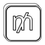 Monochrome square contour with currency symbol of mill Stock Photography