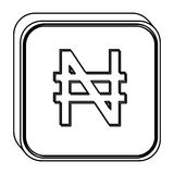 Monochrome square contour with currency symbol of nigerian naira Royalty Free Stock Images