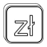 Monochrome square contour with currency symbol of poland zloty Royalty Free Stock Images