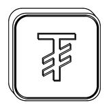 Monochrome square contour with currency symbol of tugrik mongol Stock Photo