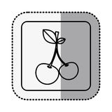 Monochrome square contour with middle shadow sticker with cherry fruit Stock Photos