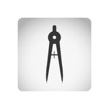 Monochrome square frame with silhouette compass school tool Royalty Free Stock Photos