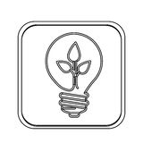 Monochrome square with light bulb with filament leaves Royalty Free Stock Photo