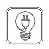 Monochrome square with light bulb with filament power cord Royalty Free Stock Photos