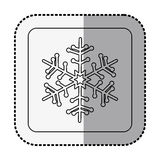 Monochrome square with middle shadow sticker with snowflake Stock Photos