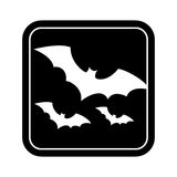 Monochrome square silhouette with bats Stock Image