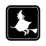 Monochrome square silhouette with witch Stock Photo