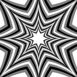Monochrome Stars Expanding from the Center. Optical Effect of Depth and Volume.Polygonal Geometric Abstract Background Stock Photography