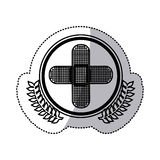 monochrome sticker with circle with olive branchs and band aid in cross form Stock Photos