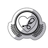 Monochrome sticker with circle with olive branchs and heart with stethoscope inside. Vector illustration Royalty Free Stock Image